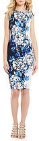 Vince Camuto Jewel Neck Cap Sleeve Floral Column Dress