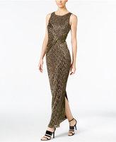 Calvin Klein Twist-Front Metallic Gown