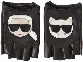 Karl Lagerfeld Paris K/ikonik Fingerless Leather Gloves