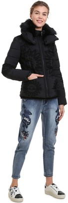 Desigual Short Padded Jacket with Detachable Hood