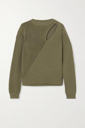 RtA Teagan Cutout Paneled Cotton Sweater - Army green