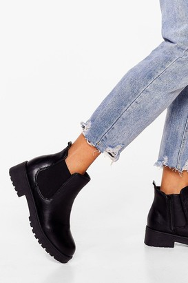 Nasty Gal Womens One Step Closer Faux Leather Chelsea Boots - Black