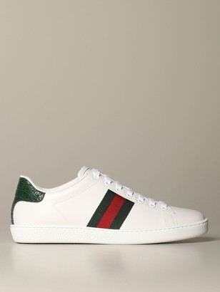 Gucci Ace Leather Sneakers With Web Bands