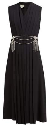 Gucci Crystal-belt Pleated Cady Midi Dress - Womens - Black