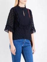 See by Chloe Ruffled polka dot-embroidered chiffon blouse