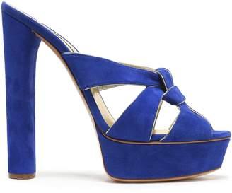 Casadei Leather-trimmed Suede Platform Sandals