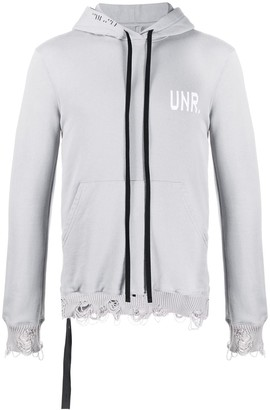Unravel Project Logo-Print Distressed-Effect Hoodie