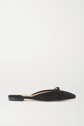 Manolo Blahnik Ballerimu Bow-detailed Suede Mules - Black