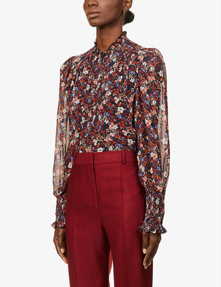 Me And Em Frill-trimmed floral silk blouse