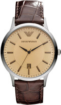 Emporio Armani AR2427 Classic stainless steel and leather watch