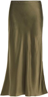 Frame Fluted Silk-satin Midi Skirt