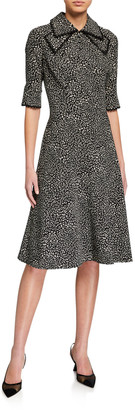 Rickie Freeman For Teri Jon Polka Dot Pintuck Chiffon A-Line Dress