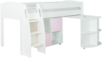 Stompa Uno S Plus Mid-Sleeper with White Headboard, Pull-Out Desk and 2 Door Cube Unit
