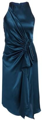 Halston Draped Sleeveless Silk Dress