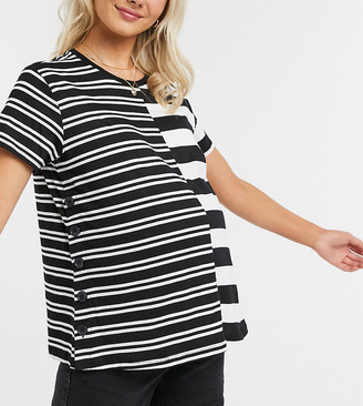 ASOS DESIGN Maternity nursing t-shirt with poppers in cutabout stripe