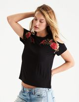 American Eagle Outfitters AE Soft & Sexy Cold Shoulder Embroidered T-Shirt