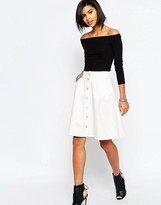 Vero Moda Button Front Denim A Line Skirt