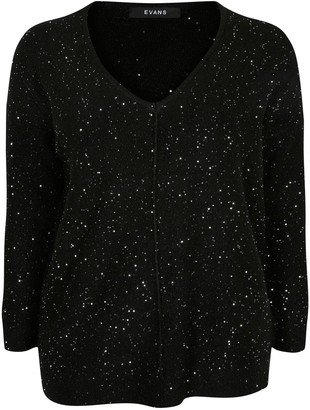Evans Sequin V-neck Jumper -Black