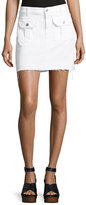 7 For All Mankind Utility Button-Front Short Denim Skirt, White