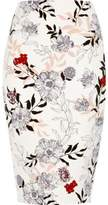 River Island Womens Cream floral print pencil skirt