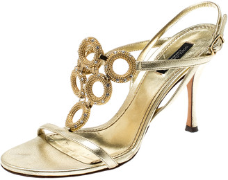 Dolce & Gabbana Metallic Gold Leather Crystal Ring Embellished Open Toe Slingback Sandals Size 38