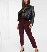 Asos Design DESIGN Petite belted slim pants in plum