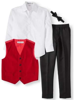 English Laundry Vest Set with Bow Tie, 4-piece Outfit Set (Little Boys)