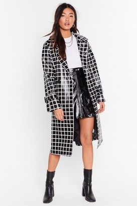 Nasty Gal Womens Belted Trench Coat in Vinyl with Check Print - Black
