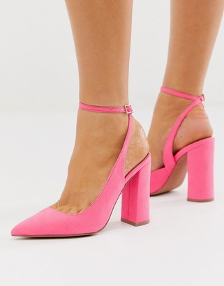 ASOS DESIGN Pace high block heels in bright pink