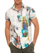 Robert Graham Paint-Print Short-Sleeve Shirt, White