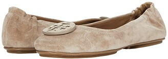 Tory Burch Minnie Travel Ballet with Leather Logo (Rocky Pebble/Rocky Pebble) Women's Shoes