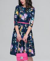 JET Black & Blue Floral Belted A-Line Dress