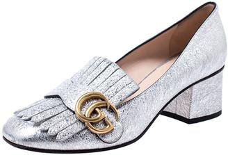 Gucci Metallic Silver Foil Leather GG Marmont Fringe Detail Block Heel Pumps Size 36.5
