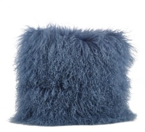 "Saro Lifestyle Wool Mongolian Lamb Fur Decorative Pillow, 20"" x 20"""
