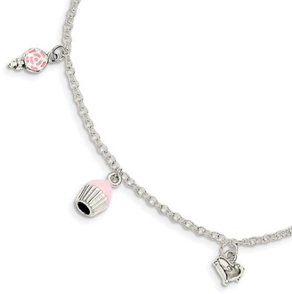 Sterling Silver Children's Enameled Lollipop/Cupcake/Heart with 1.5-inch Extension Bracelet by Versil