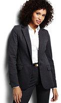 Classic Women's Petite Pattern Wear to Work Blazer-Graphite Blue Plaid