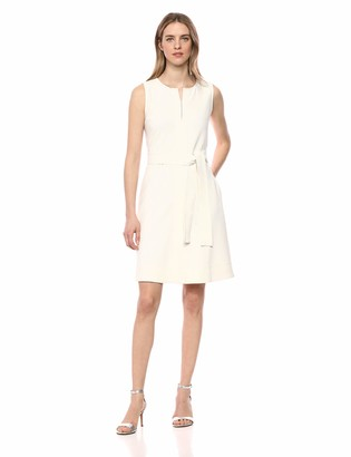 Lark & Ro Amazon Brand Women's Sleeveless Split Crew Neck Belted A-Line Dress with Pockets