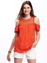 Old Navy Cut-Out Cold-Shoulder Swing Top for Women