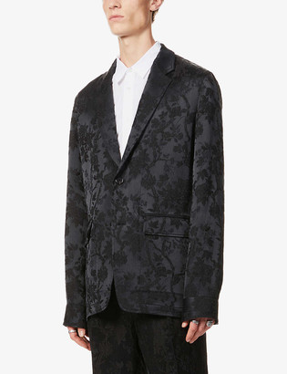 Ann Demeulemeester East floral-embroidered crepe blazer