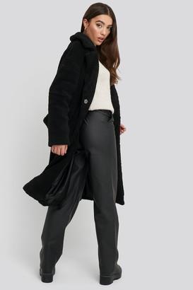 NA-KD Big Collar Teddy Coat Black