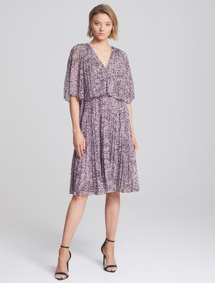 Halston Pleated Printed Dress