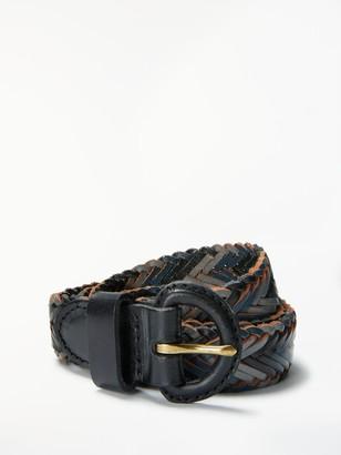John Lewis & Partners Sianne Skinny Plaited Leather Belt