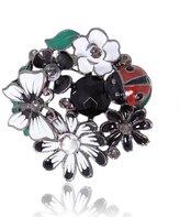 Ever Faith Flower Butterfly Enamel Austrian Crystal Brooch Pin N00068-1