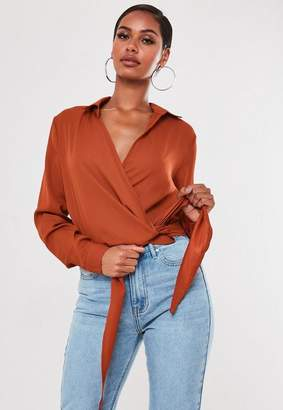 Missguided Tan Wrap Tie Side Blouse