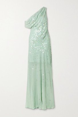 Cushnie One-shoulder Draped Sequin-embellished Silk-chiffon Gown - Mint
