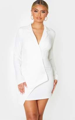 PrettyLittleThing White Button Detail Wrap Blazer Dress