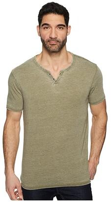Lucky Brand Burnout Button Notch Shirt (Dark Olive) Men's Clothing