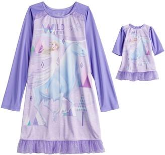 Disney Disney's Frozen 2 Elsa Girls 4-8 Wild Spirit 2-Piece Nightgown with Matching Doll Nightgown