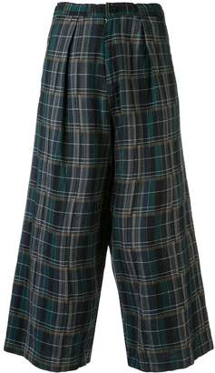 Y's wide leg check trousers