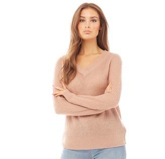 Brave Soul Womens Max V Neck Knitted Jumper Soft Almond